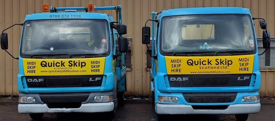 two midi skip lorries